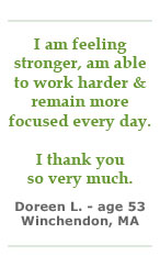 Doreen L is feeling stronger and more focused
